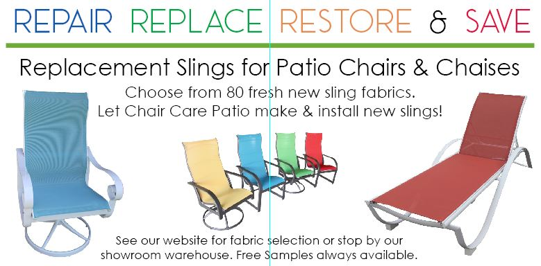 Chair Care Patio Makes and installs replacement slings for Dallas and North Texas Customers