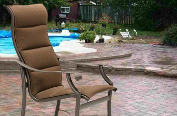 Single layer replacement padded slings upgrade older outdoor furniture with comfort and style.