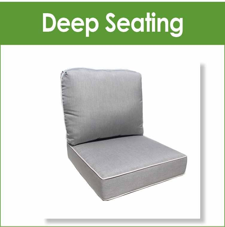 Replacement cushions for deep seating outdoor patio furniture